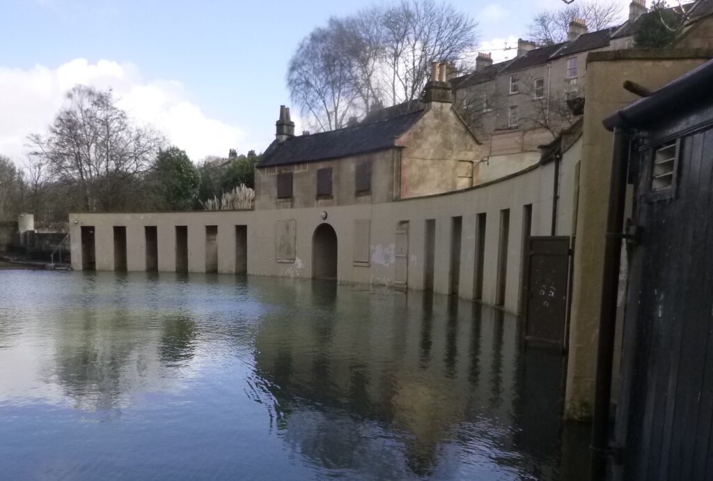 Flooding at Cleveland Pools, City of Bath World Heritage Site.