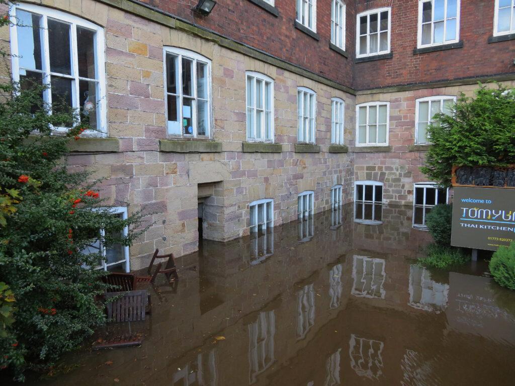 Flooding at Derwent Valley Mills World Heritage Site.