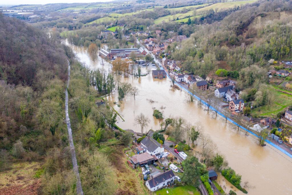 Flooding at Ironbridge World Heritage Site.